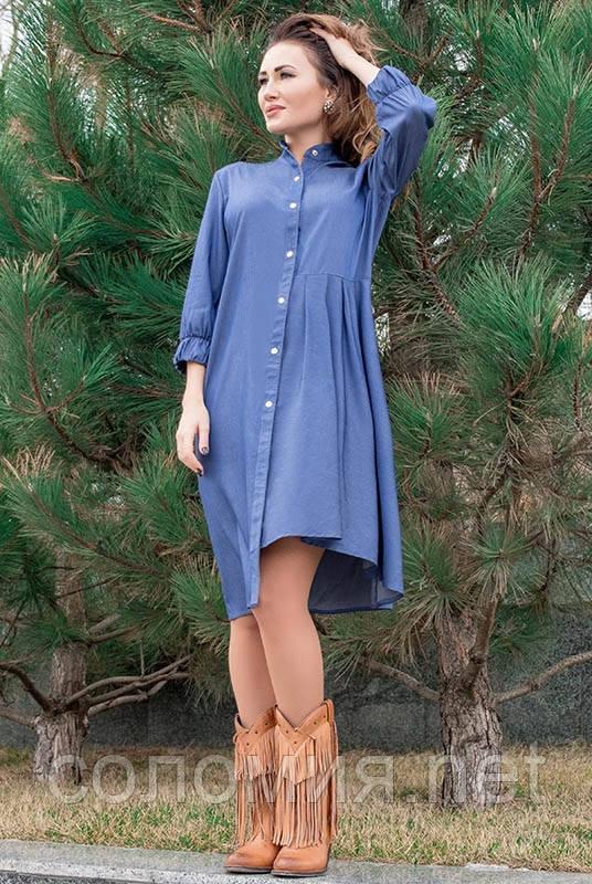 Стильное джинсовое весеннее платье 42-60р