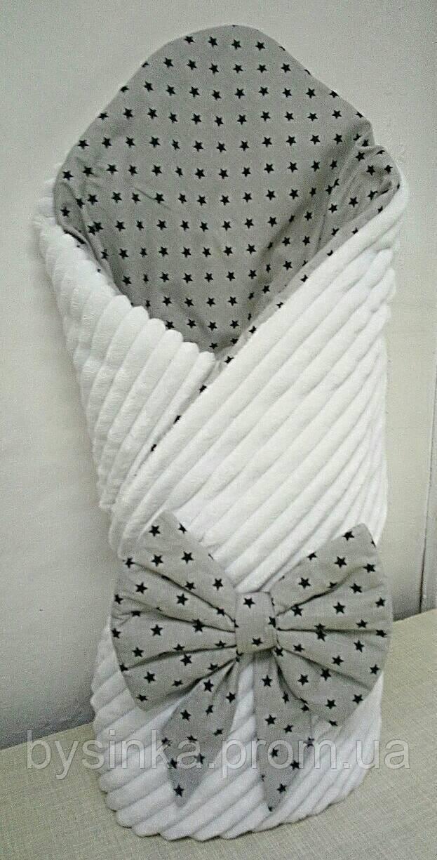 Конверт на выписку новорожденного Плюш Minky, 80*80 см. со съемным деми наполнителем. Сезон -Весна,Лето,Осень.