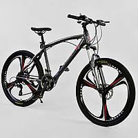 """Велосипед спортивный 26""""дюймов, СЕРЫЙ, 24 скорости, рама алюминиевая 17"""", CORSO EVOLUTION JYT 007 - 9291"""