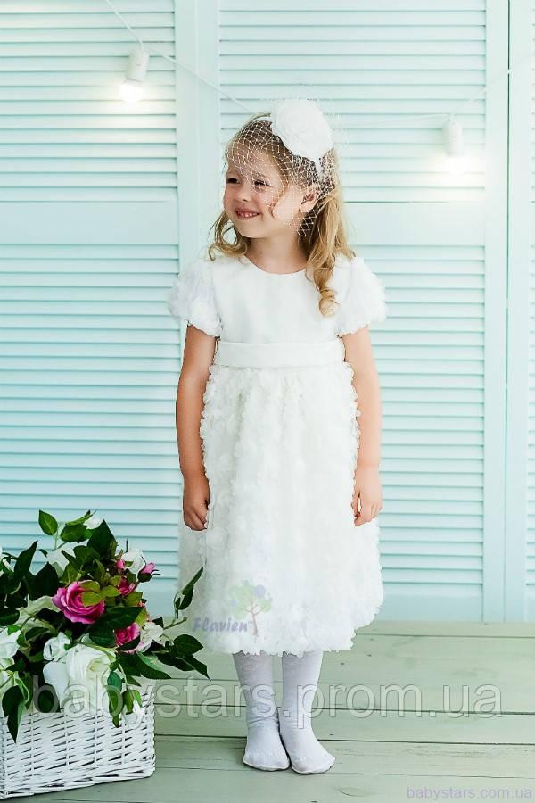 Белое торжественное платье для девочки код: 7024, размеры: от 80 до 116