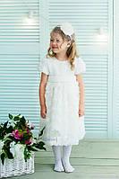 Белое торжественное платье для девочки код: 7024, размеры: от 80 до 116, фото 1
