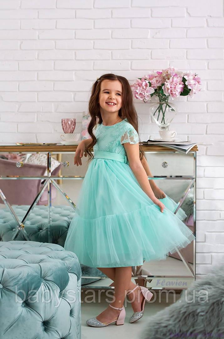 Платье с пышной юбкой для девочки код: 7025, цвет ментоловый, размеры: от 80 до 134
