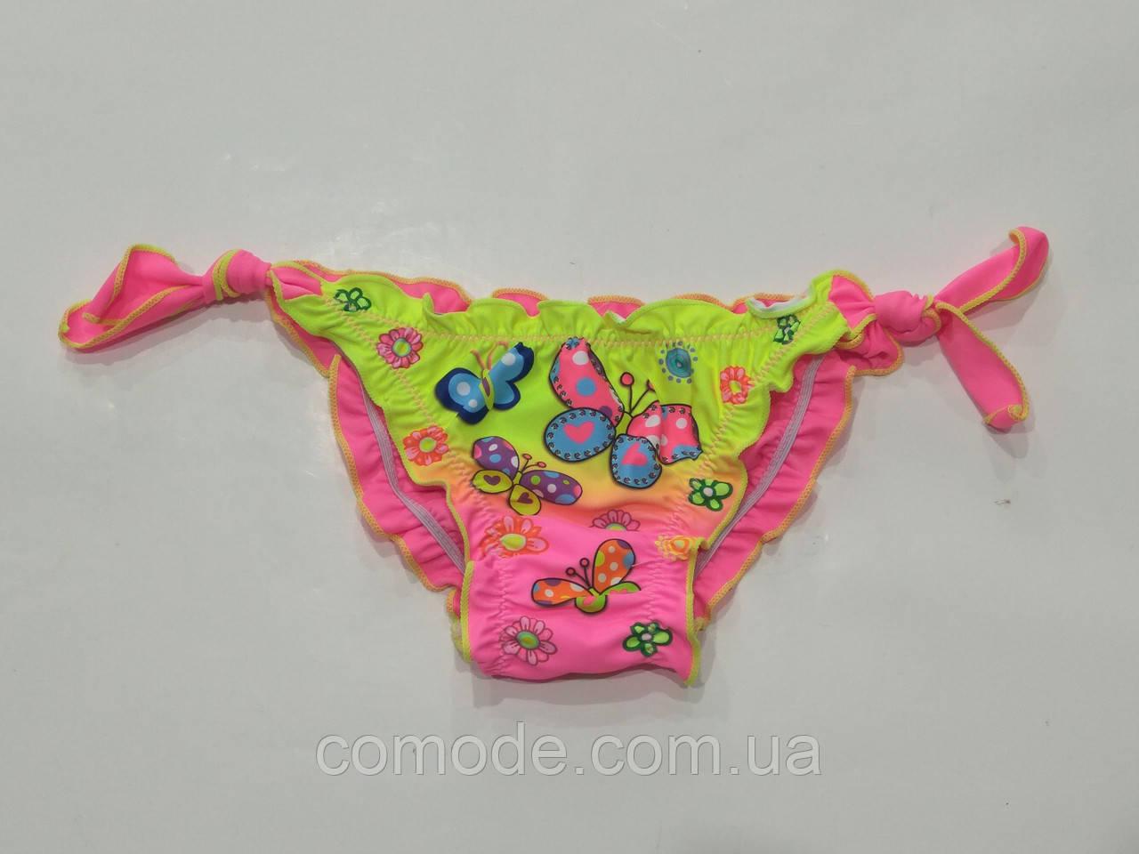 Плавочки на маленькую девочку с боковыми завязками радуга