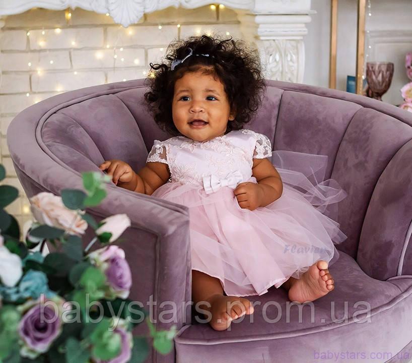 """Платье для новорожденной девочки код: 7038, цвет """"пыльная роза"""", размеры: от 62 до 74"""