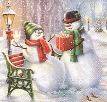 Декупажний серветка Два сніговика на лавочці 4066 (пачка 20)