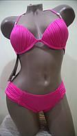 Раздельный однотонный купальник с пушап розовый и голубой 44 В46 В укр