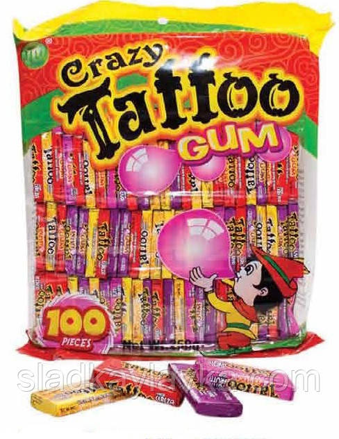 Жевательная резинка Crazy Gum Tattoo 100 шт (JIUJIUWANG), фото 1