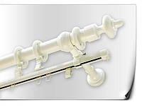 Карниз двойной  трубчатый белый +шина 1,6м