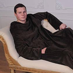 Рукоплед. Плед с рукавами и карманами из микрофибры 200х150. Коричневый - 141161