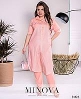 64cfa7120f2 Костюм женский брючный в полоску блуза лен Большого размера Розовый