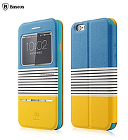 Чехол книжка для iPhone 6 Baseus Orange/Blue