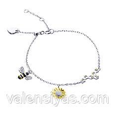 Серебряный браслет с пчелками Б24ЧФЦТ/1025