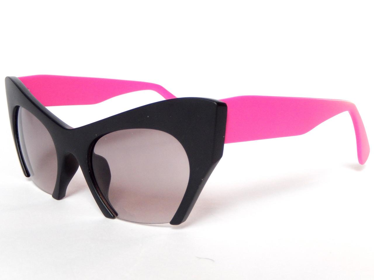 Полуободковые очки в стиле miu miu matblack&pink - Cat-Eye