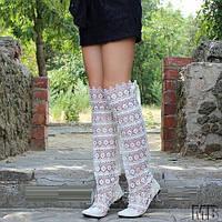 Эксклюзивные летние стильные кружевные ажурные женские сапожки-ботфорты из кружева макраме . Арт-0008, фото 1