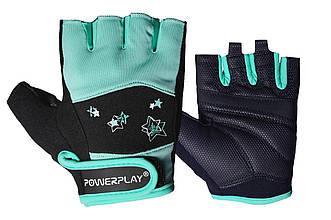 Фітнес рукавички PowerPlay 3492 жіночі Чорно-Мятні M - 144444
