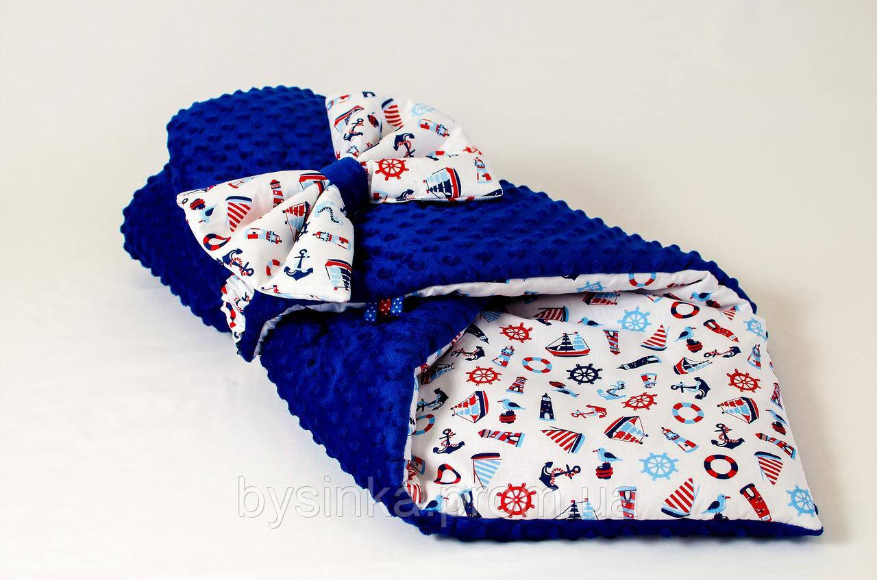 Демисезонный плюшевый конверт - одеяло на выписку BabySoon Морские мотивы 78 х 85 см синий (562)