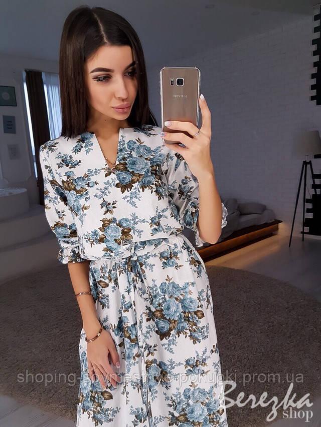 b488fcb48e8 Легкое летнее платье из льна платье в цветочек купить в Украине ...