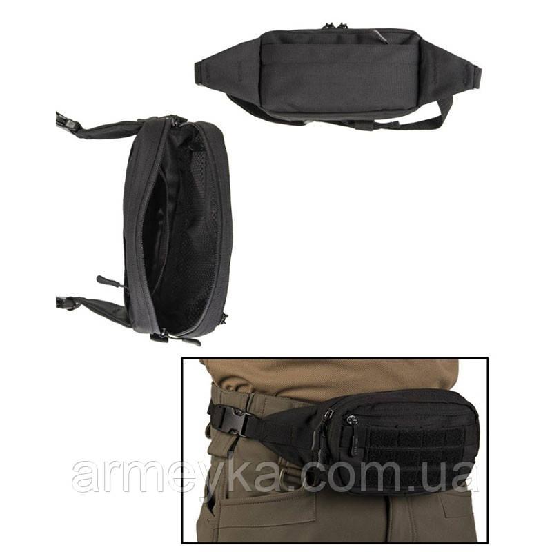 Поясная сумка с системой Molle, черная. Mil-Tec, Германия.