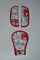 Накладки на ремни много котов + красный