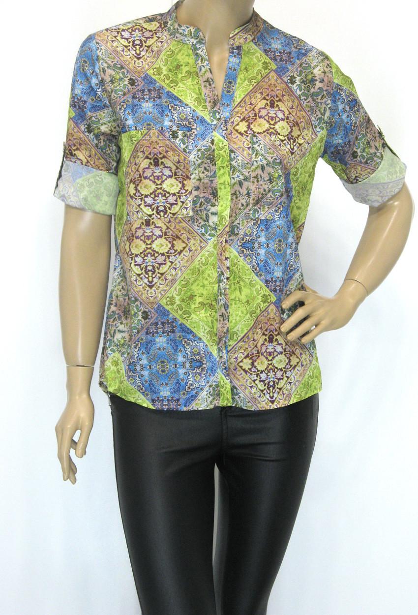 блузка- сорочка з яскравим квітковим принтом