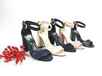 Босоножки женские на каблуке модные с открытым носом и закрытой пяткой, в разных цветах.