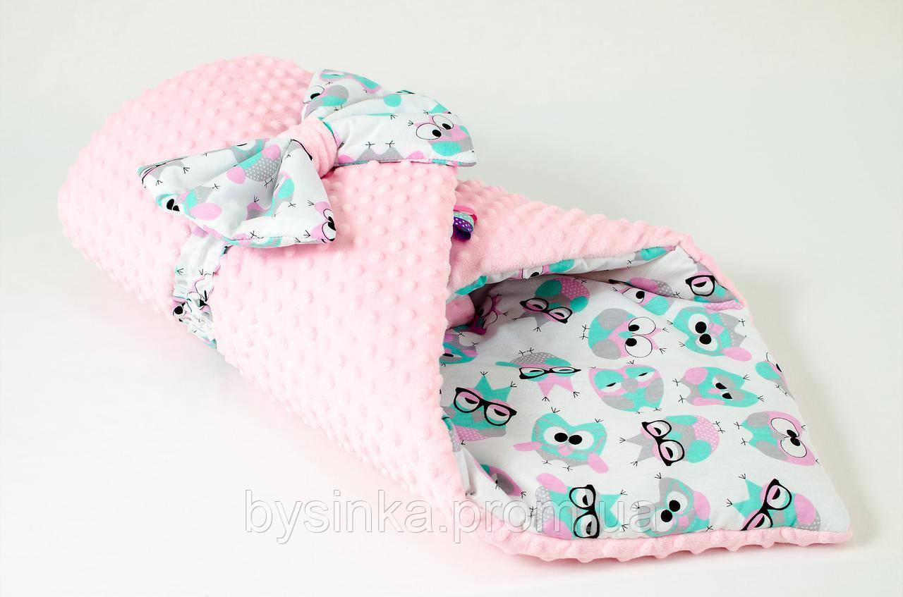 Демисезонный плюшевый конверт - одеяло на выписку BabySoon Розоые совушки в очках 78 х 85 см (564)