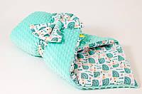 Демисезонный плюшевый конверт - одеяло на выписку BabySoon Мятные ежики 78 х 85 см (565)