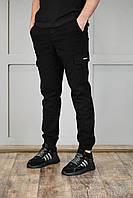 Мужские спортивные штаны на манжетах черные, фото 1