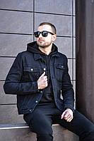 Мужская джинсовая куртка демисезонная темно синяя Отличного качества