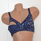 Бюстгальтер для беременных и кормящих хлопковый с кружевом синий Lanny Mode 9114, фото 6
