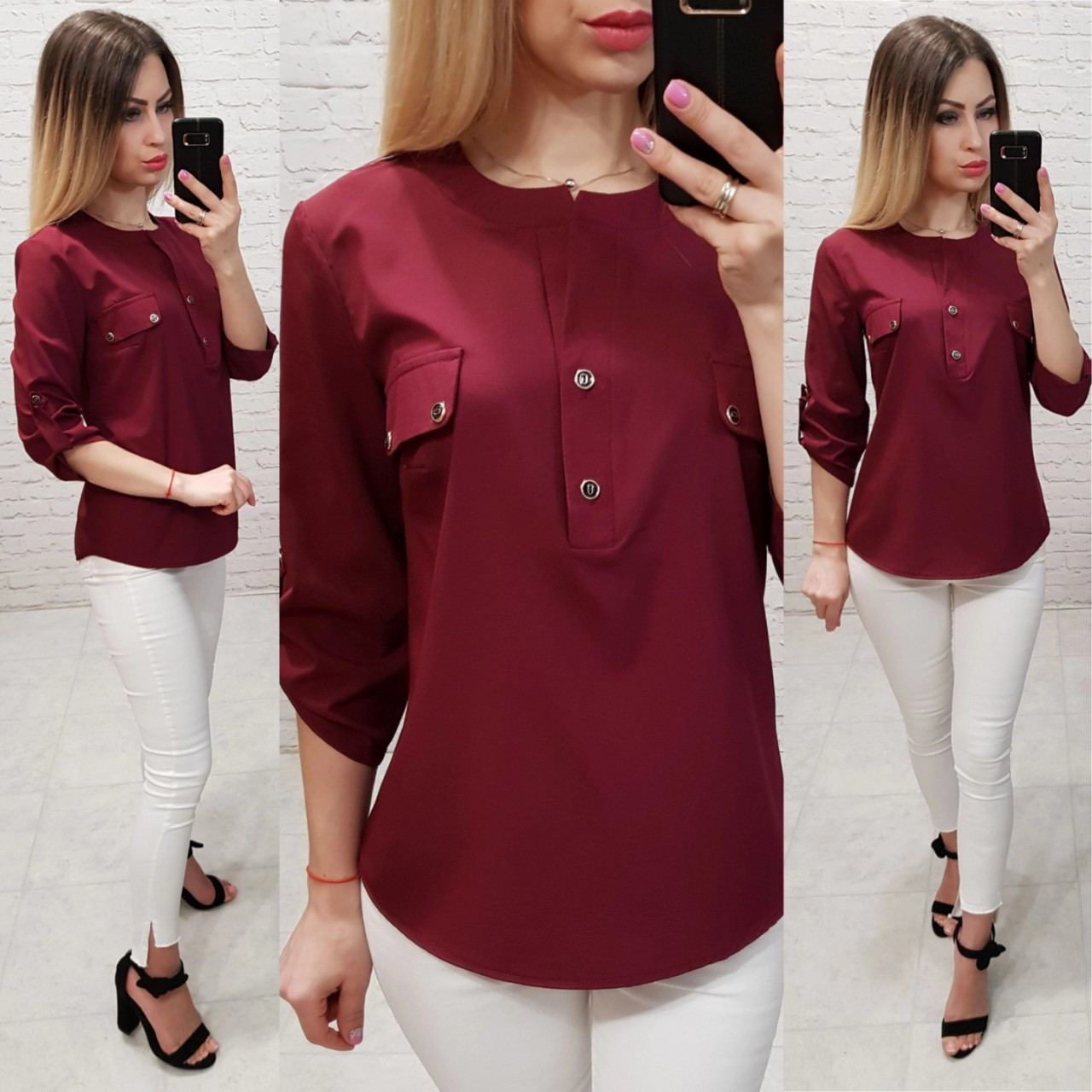 Блузка/блуза з кишеньками на грудях, модель 829 , колір марсала