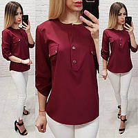 Блузка/блуза з кишеньками на грудях, модель 829 , колір марсала, фото 1