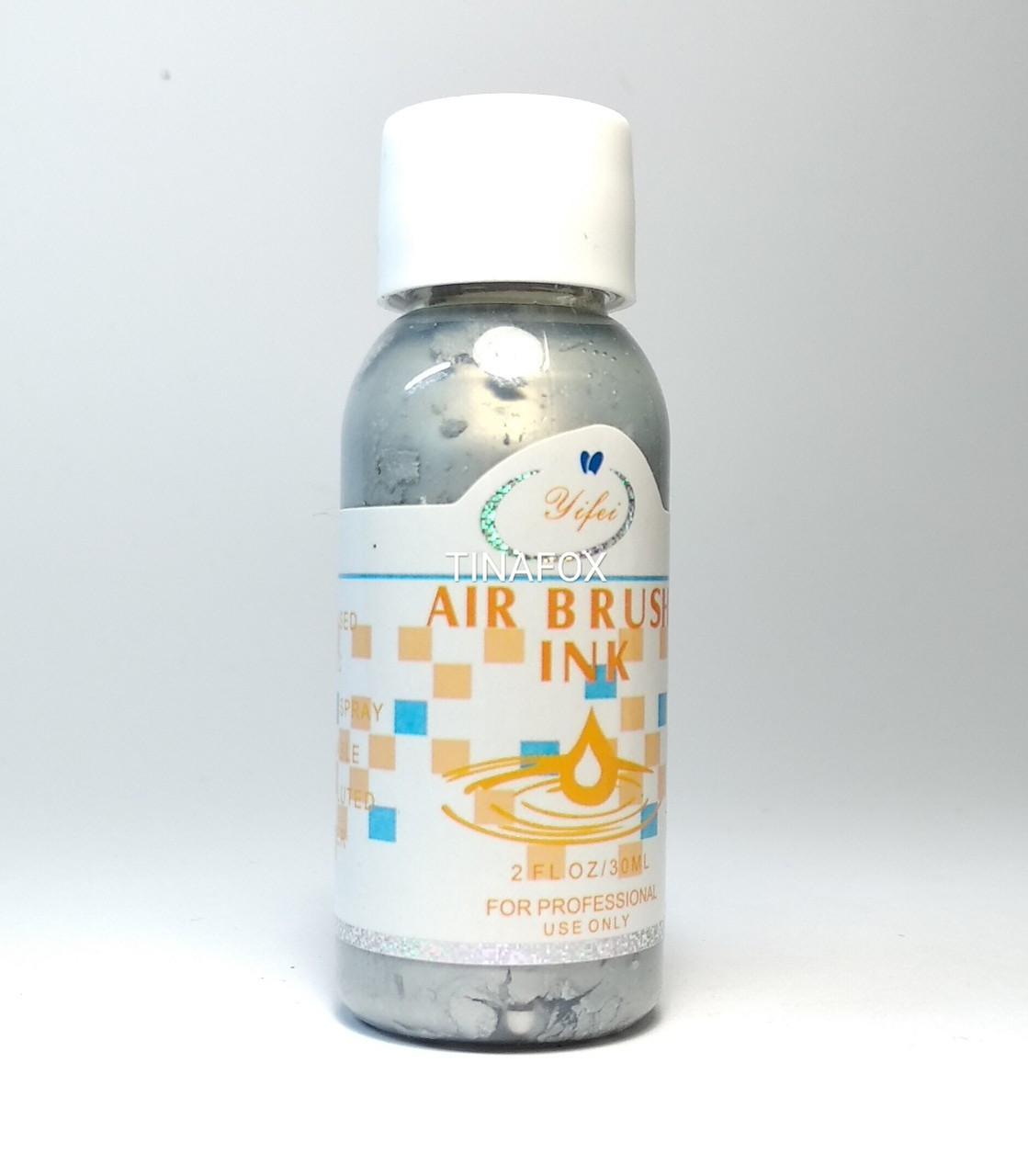 Краска для аэрографии Air brush ink, 30 мл, серебро