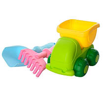 Набор для песочницы силиконовый: машинка самосвал, лопатка, грабли, фото 2