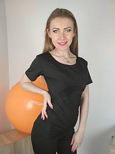 Женская черная футболка для спорта со вставками из сетки 42-48 р