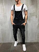 Комбинезон мужской черный рваный/ 2 цвета/ЛЮКС КАЧЕСТВО/мужской джинсовый комбинезон черный