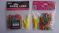 Разноцветные резиночки Rainbow Loom Bands, с мини станком и крючком  для плетения браслетов , 200шт.Різнокольо