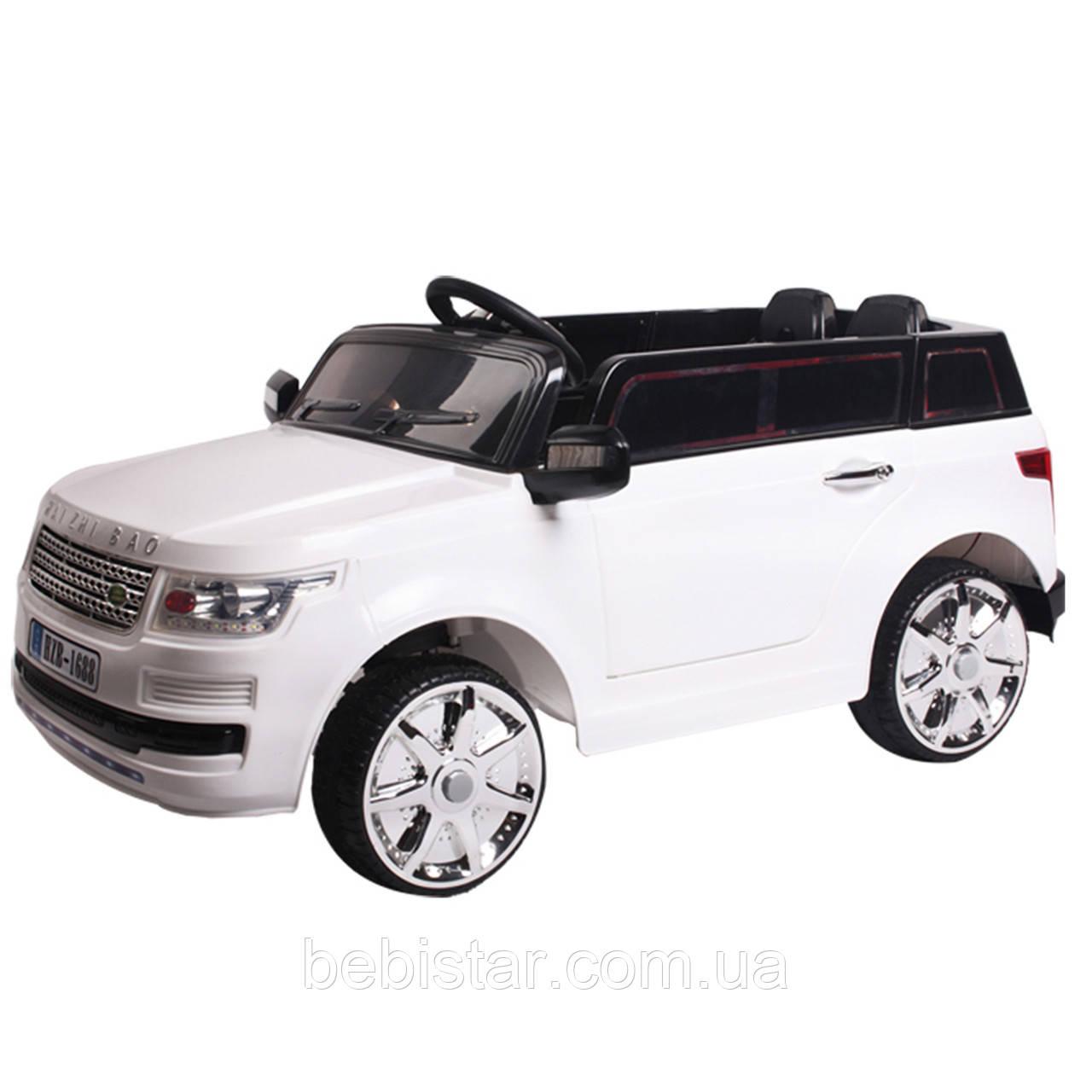 Детский электромобиль Джип белый с пультом аккумулятор 2*6V4.5AH, мотор 2*25W с МР3