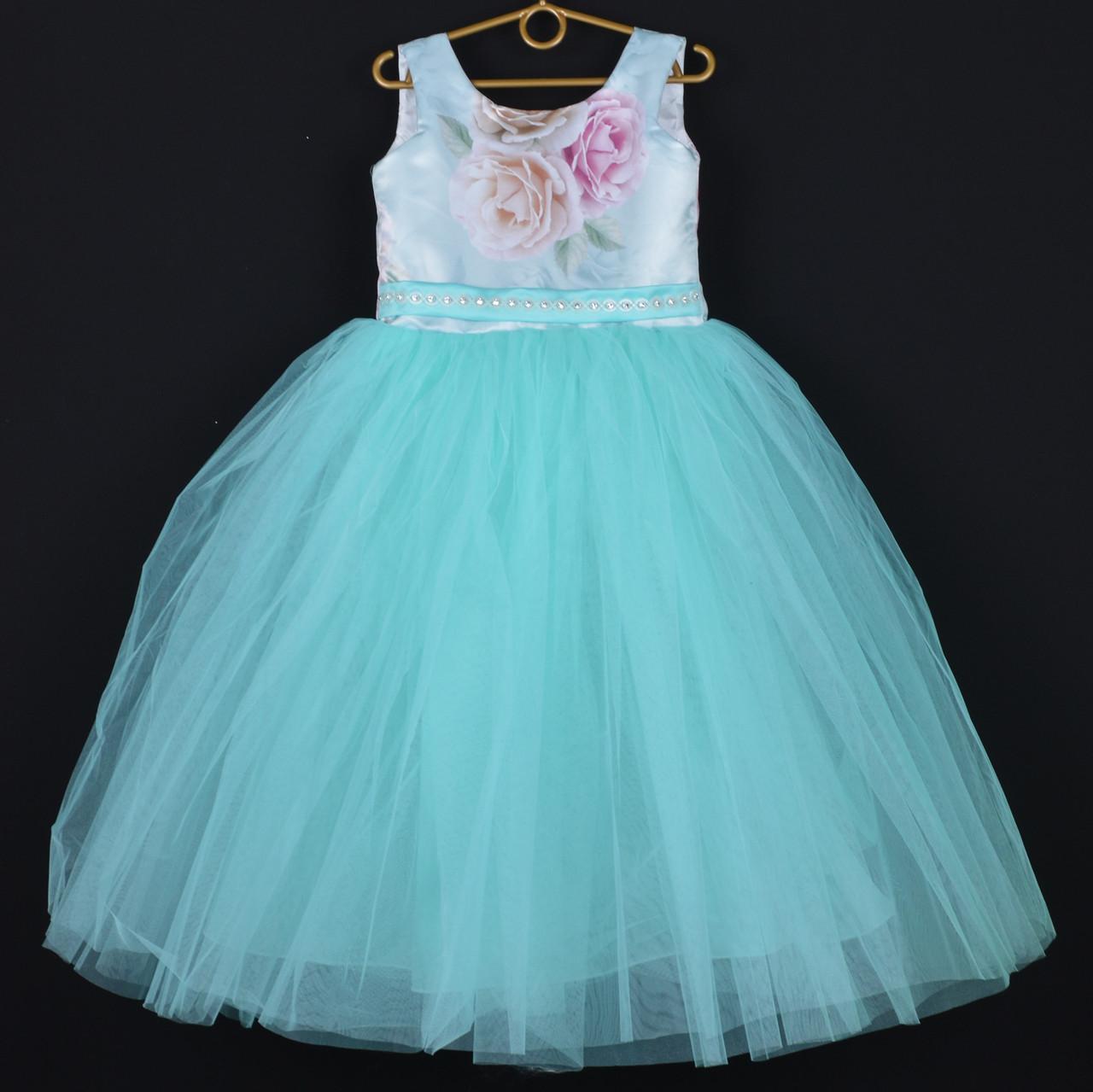 """Платье нарядное детское """"Магнолия"""" со съемным бантом. 6-7 лет. Бирюзовое. Оптом и в розницу"""