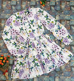 Модное стильное Платье для девочки с рюшем Цветы 134-152 мелкие цветы на белом
