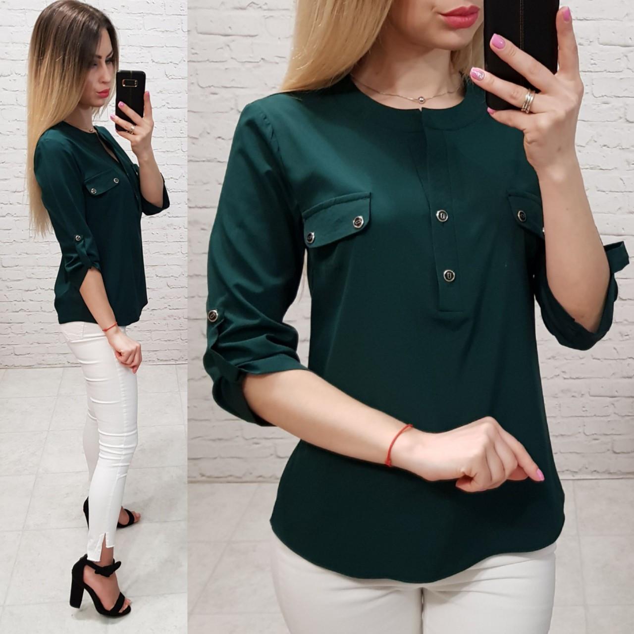 Блузка/блуза з кишеньками на грудях, модель 829 , колір зелений пляшковий