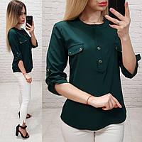 Блузка/блуза с кармашками на груди, модель 829 , цвет зелёный бутылочный