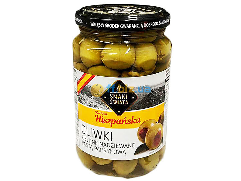 Оливки зеленые без косточки с паприкой Smaki Swiata Oliwki Zielone Nadziewane Pasta Paprykowa 340g