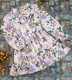 Модное стильное Платье для девочки с рюшем Цветы 134-152 мелкие цветы на розовом