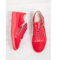 Стильные женские кожаные кеды красного цвета