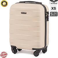 Мини ударостойкий бежевый дорожный чемодан на 4 колесах фирма Wings Одесса