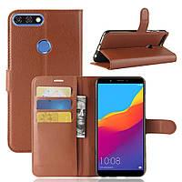 Чехол-книжка Litchie Wallet для Huawei Y7 Prime 2018 Коричневый