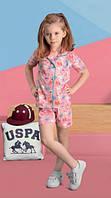 U.S. POLO Комплект рубашка+шорты для девочки 453-4