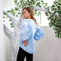 Жіноча вишиванка з білою вишивкою Голуби, фото 3