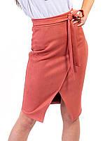 aa781332d08 Стильная замшевая юбка с имитацией запаха кораллового цвета